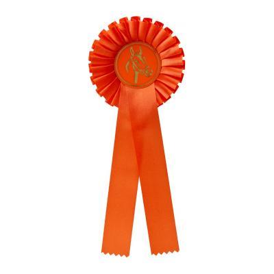 1-rings rozet - oranje - niet bedrukbaar - met paardenhoofd - G100.1
